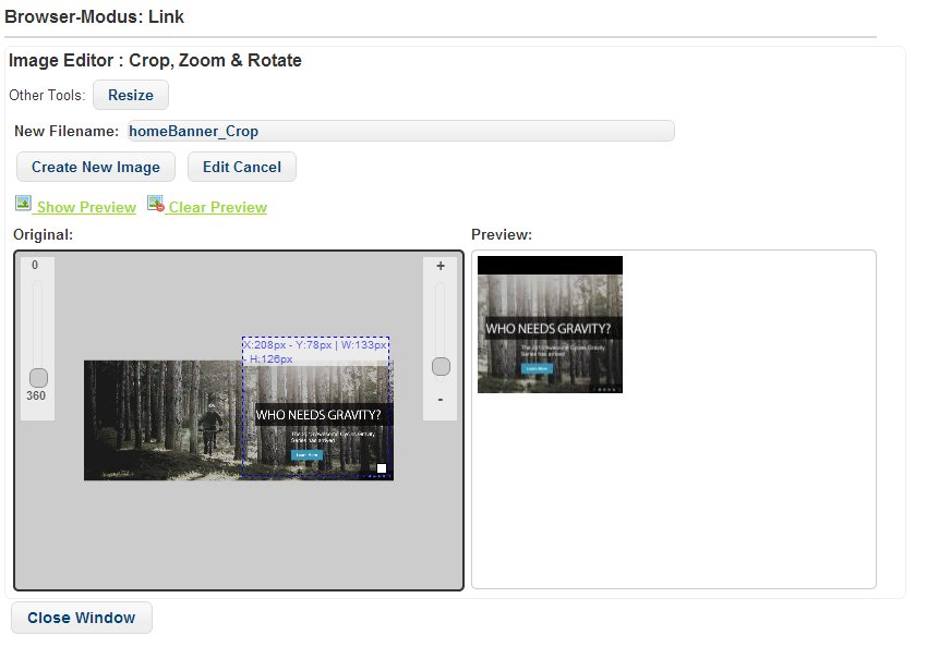 The Integrated Image Editor (Rotate, Zoom and Crop)