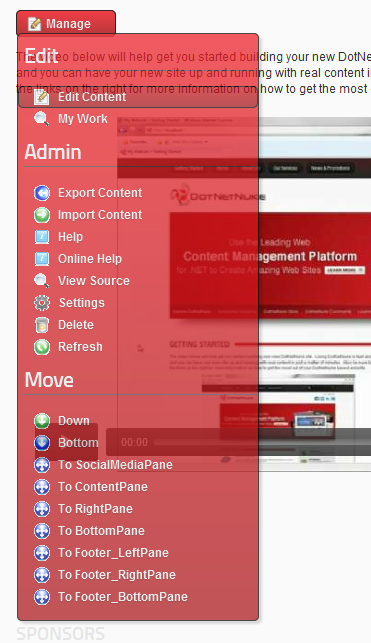 The Module Actions Menu in DNN 6
