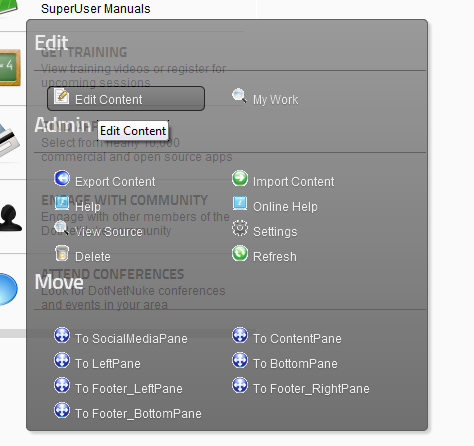 The Module Actions Menu in DNN 6 (Context Mode)